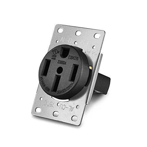 Aweking UL Listed 50 Amp 50A Power Receptacle Outlet NEMA 14-50R,Industrial Power,125 Volt,250 Volt,nema 14-50r Receptacle,Straight Blade,Flush ()