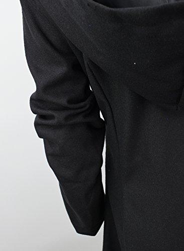 Azbro Mujer Abrigo Sola-botonatura Dobladillo Asimétrico Negro