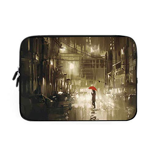 (Apartment Decor Laptop Sleeve Bag,Neoprene Sleeve Case/Woman with Red Umbrella in Street at Rainy Night in Town Shadow Urban Scenery/for Apple MacBook Air Samsung Google Acer HP DELL Lenovo A)