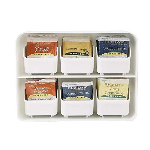Mind Reader 6 Drawer Tea Bag Holder and Organizer, White ()