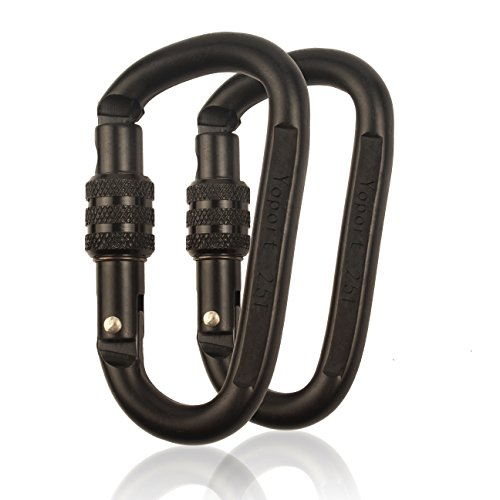 25KN Climbing Carabiner Clip Set (2-Pack) Locking D-Ring with Heavy Duty Steel Alloy - Hammocks, Camping, Hiking, Traveling