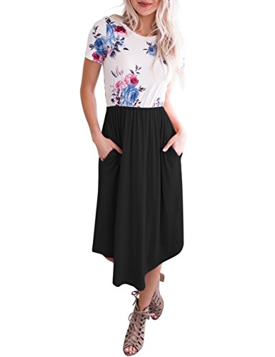 MEROKEETY Women's Short Sleeve Floral Print Crew Neck Casual Pleated Midi Dress with Pockets