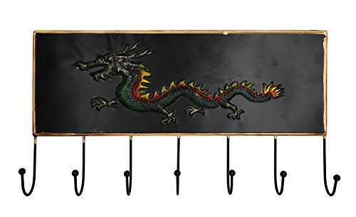 Gobuy Chinese Traditional 12 Zodiac Embossed Design Over Door Hanger with 7 Hooks