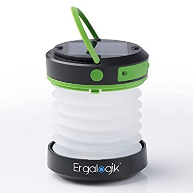 ErgaLogik Compact Solar Camping Lantern with USB PowerBank Great for Camping, Hiking & Trekking - Best Camping Lantern - Best Solar Lantern - Best Emergency Light