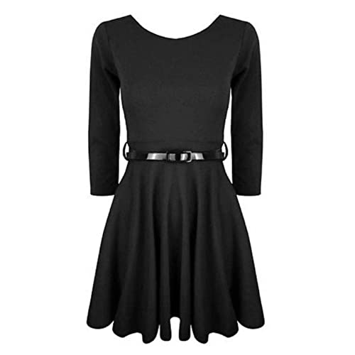 Hot Hanger Girls 3/4 Sleeve Belted Skater Dress Top (9-10 Years, Black)