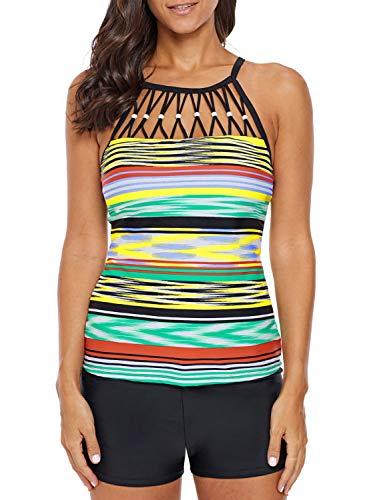 Trim Top Bead - ROSKIKI Womens Push Up Bandeau Tankini Swimsuit Tops Stripes Ladies Sporty Cute Bead Trim Swim Tops for Juniors Trendy 2019 Multicoloured M