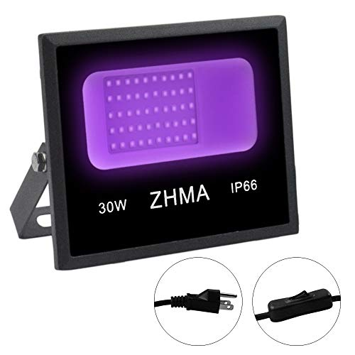 ZHMA UV Black Light Flood Light,High Pressure 30W UV LED Black Light, IP66 Waterproof Stage Light for Blacklight Party,uitable for Outdoor Holiday Fuorescent Party, Glow in The Dark,Neon Glow,Black L
