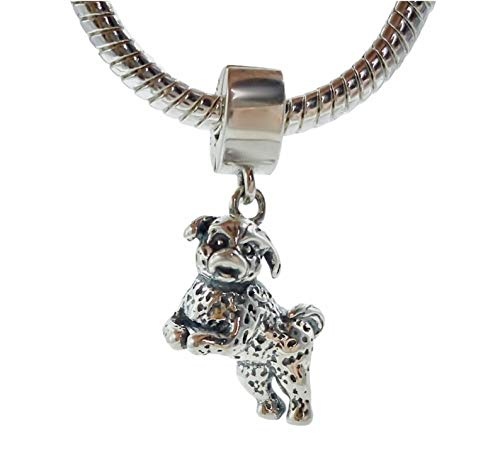 Bolenvi Bichon Frise Poodle Dog 925 Sterling Silver Clip-On Dangle Pendant X Charm Bead for Pandora & Similar Charm…