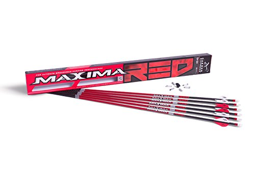 Carbon Express Maxima RED Fletched Carbon Arrows with Dynamic Spine Control and Blazer Vanes, Size 350, 6-Pack