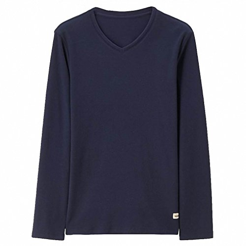 Men T-shirt Solid V-neck Long Sleeves Tee Slim Fit Plain Colors Men Tops Warm Clothing Kleidung 66Blue - Sale Fcuk Mens