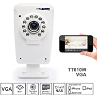 Titathink Tt610w Wireless WiFi Home Network Camera supports Motion Detection, Email/Ftp and Push Notification, Night Vision, Micro SD card recording, Baby / Pet / Home / Business Monitoring