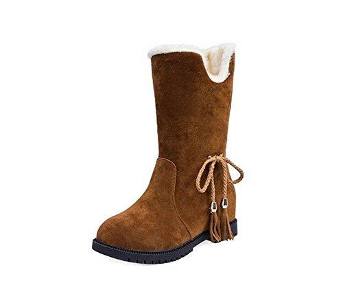 KUKI Damenschuhe, Damenschuhe, plus Baumwolle, warm, Stiefel, Martin Stiefel, Baumwollschuhe, wild, Rom, in Stiefeln brown