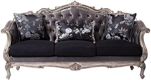 ACME Chantelle Sofa w 3 Pillows – – Silver Gray Silk-Like Fabric Antique Platinum
