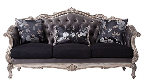 ACME Furniture 51540 Chantelle Sofa With 3 Pillows 3, Antique Platinum And  Silver Gray Silk Like Fabric