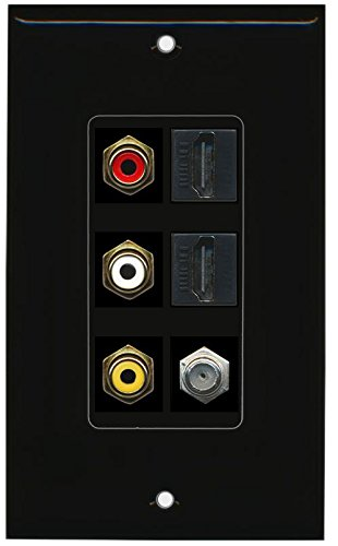 RiteAV - (1 Gang Decorative) Rca Composite (Black) 2 Hdmi Coax Black Wall - Audio Cable Video Rca Riteav