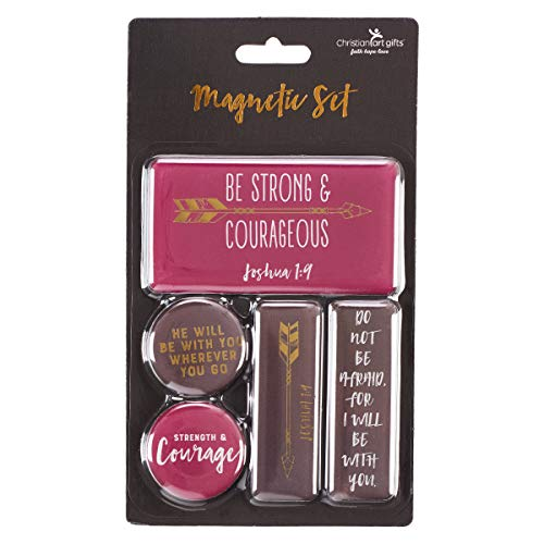 - Be Strong And Courageous 5-Piece Magnet Set - Joshua 1:9