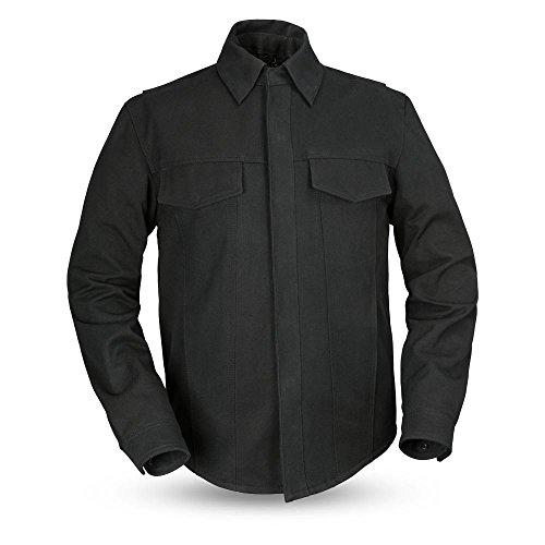 (First Mfg Co Men's Mercer Canvas Motorcycle Shirt (Black, X-Large))
