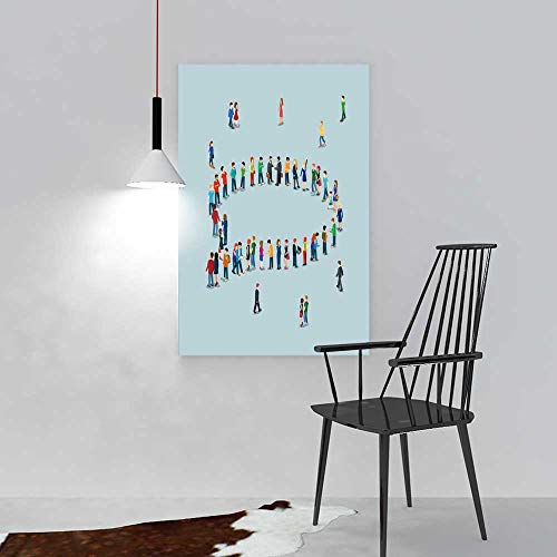 aolankaili Paintings of Decorative Frameless Flat d Isometric Style Chat Messaging Web infographics Vector Illustration Crowded Restaurant Bedroom Painting W12 x H16
