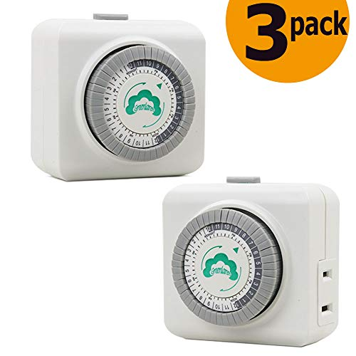 GreenLaren Indoor 24-Hour Mechanical Outlet Timer,Plug in Switch with 30 Minute Intervals,1 polarized 2 Prong outlet,3 Pack