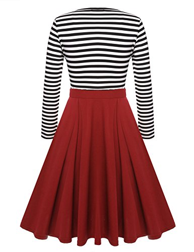 Dress Long Slim Mini Casual Fit Scoop Sleeve ACEVOG 4 Women's Neck Dresses 3 Red Stripe Skater 4AfW0qBw6