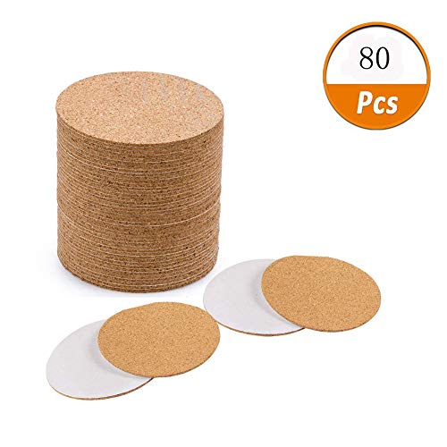 Qincling 80 Pack Self-Adhesive Cork Coasters Round - 3.5IN Circle Cork Backing Sheets Mats Mini Wall Cork Tiles Coasters and DIY Crafts Supplies