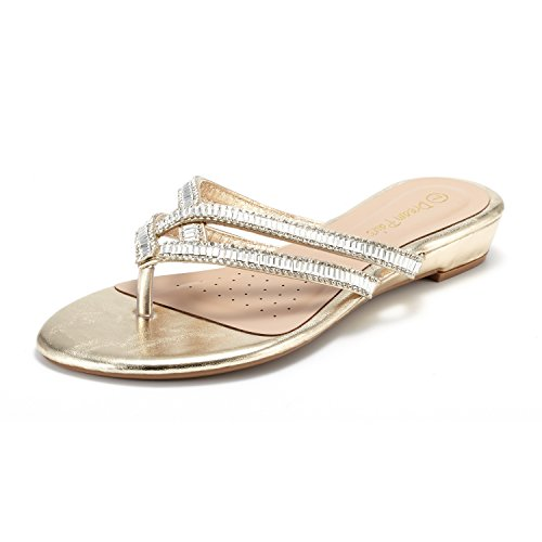 DREAM PAIRS Women's Jewel_01 Gold Fashion Rhinestones Design Slides Sandals Size 5 M ()