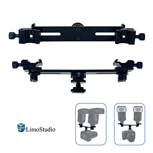 LimoStudio Dual Flash Light Bracket for Speedlite with 2 Extended Shoe Bracket & Mount on Camera, Photo Studio, AGG1991