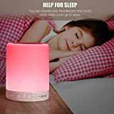 Touch Lamp, Night Light Bluetooth Speaker Portable Wireless Music Speakers, Beside Table Lamp Dimmable 3 White Light Levels RGB Color Changing with Metal Handle TF Card/AUX-IN Supp