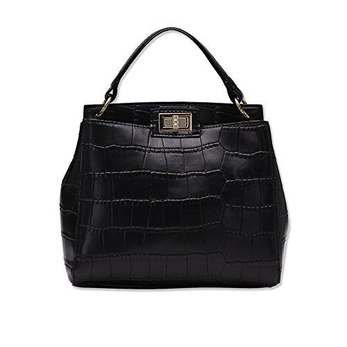 Faysting EU donna grande borsa a tracolla borsa a spalla fashion stile nero pelle lunga maneggiare buon regalo per san valentino