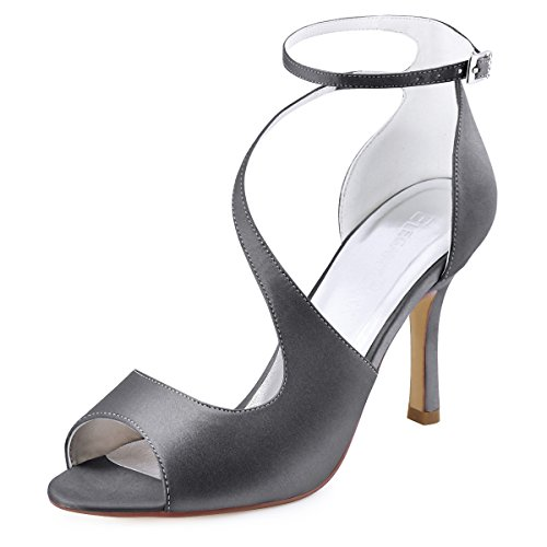 ElegantPark HP1565 Women's Peep Toe High Heels Ankle Strap Buckle Satin Wedding Evening Dress Sandals Steel Grey US 6