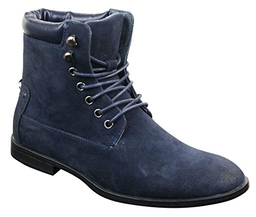 Galax Mens Newbuck Suede Cowboy Vintage Riding Walking Hiking Boots Smart Casual Navy-Blue MUPVl