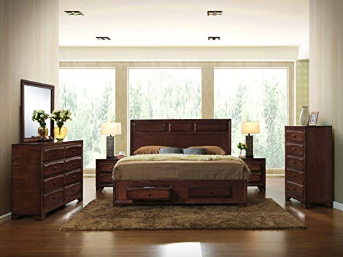 Roundhill Furniture Oakland 139 Antique Oak Finish Wood Bed Room Set including King Storage Bed Mirror and 2 Night Stands