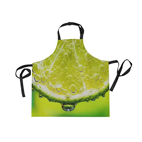 Lime Slice with Soda in Glass Unisex Home Kitchen Aprons with Pockets, Adjustable Bib Apron Perfect for BBQ, Grill, Baking, - Apron Soda Shop