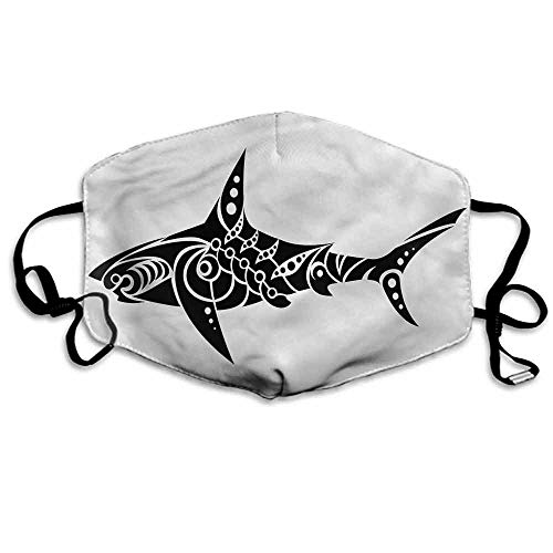 Tribal Fashion Mouth Mask Shark Tattoo Design Artwork for Cycling Camping Travel W4