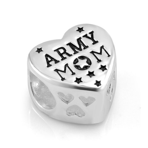 - 925 Sterling Silver Enamel US American Flag ARMY MOM Heart Bead Charm Fit Major Brand Bracelet