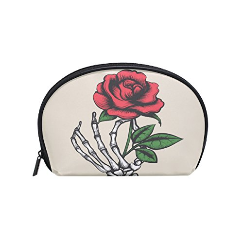 ALAZA Skull Hand Rose Half Moon Cosmetic Makeup Toiletry Bag Pouch Travel Handy Purse Organizer Bag for Women Girls