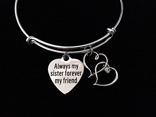 Always my Sister Forever My Friend Adjustable Expandable Silver Bangle Bracelet Personalized Customization Birthstone and Initial Options