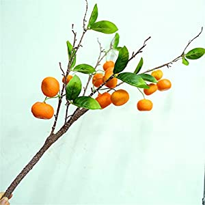 ZJJFZH Artificial Decorative Flowers Simulation Orange Leaf Orange Cotyledon Kumquat Tree Fake Leaves Fruit Tree Green Plant Branches Green Leaves with Fruit Oranges 107