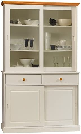 Beaux Meubles Pas Chers Vaisselier Blanc Et Miel Bibliotheque 4 Portes Coulissantes Amazon Fr Cuisine Maison