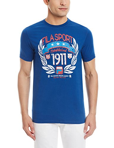 Fila Men's Round Neck Cotton T-Shirt (8903184955062_12003160_Small_Blue)