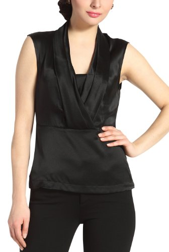 PHISTIC Women's 'Lori' Drape Neck Silk Blouse - Black - Neck Silk Drape