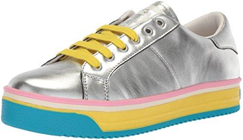 Marc Jacobs Women's Empire Multi Color Sole Sneaker, Silver/Yellow, 38 M EU (8 US)