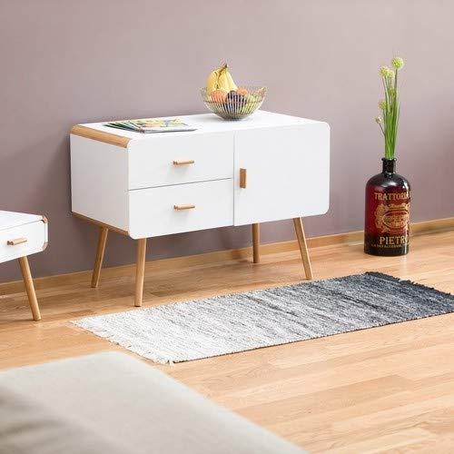 2 Schubladen Beistellschrank Design Highboard mit F/ü/ße Relaxdays Sideboard nordisch HxBxT: 70 x 100 x 47 cm wei/ß