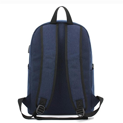 port Package Polyester Backpack Black Laptop Leisure Water With Rucksack charging USB Repellent inches 14 Student wZROtx4xq
