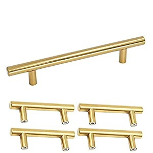 Homdiy Brushed Brass Cabinet Handles 3 3/4 In Hole Centers Kitchen Cupboard  Door Handles And Pulls 6in Length Gold 5 Pack