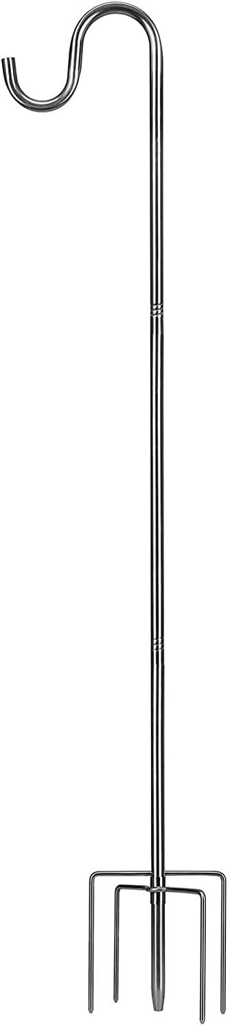 SANDEGOO Outdoor Shepherds Hook,30 Inches Shepherds Hook with 5 Prongs Base Stainless Steel Adjustable Garden Hanging Holder for Bird Feeders Lanterns Planting Hanger Weddings Decor (30 inch)