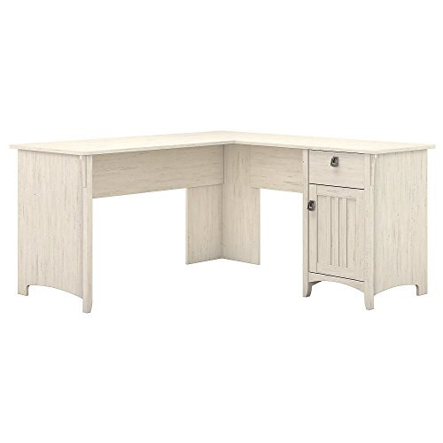 Bush Furniture Salinas L Shaped Desk with Storage in Antique White from Bush Furniture