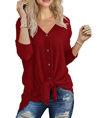 IWOLLENCE Womens Loose Henley Blouse Bat Wing Long Sleeve Button Down T Shirts Tie Front Knot Tops Red S