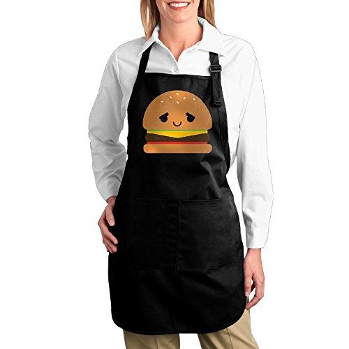 Dogquxio Hamburger Emoji Kitchen Helper Professional Bib Apron With 2 Pockets For Women Men Adults (Wwe Costume Challenge)