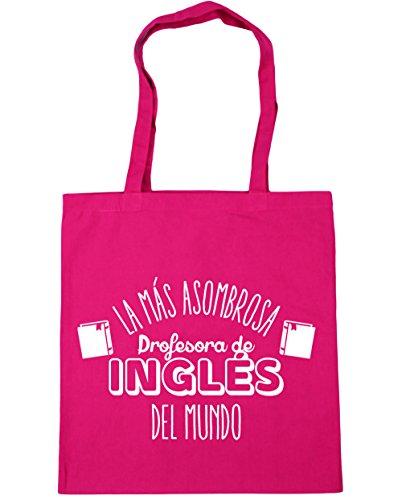 Hippowarehouse The Most Amazing English Teacher Beach Bag World Shopping Bag With Handles 42cm X 38cm For Fitness Fuchsia 10 Liters Capacity